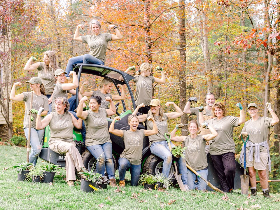 The crew of Those Plant Ladies at the English Perennial Garden Installation.