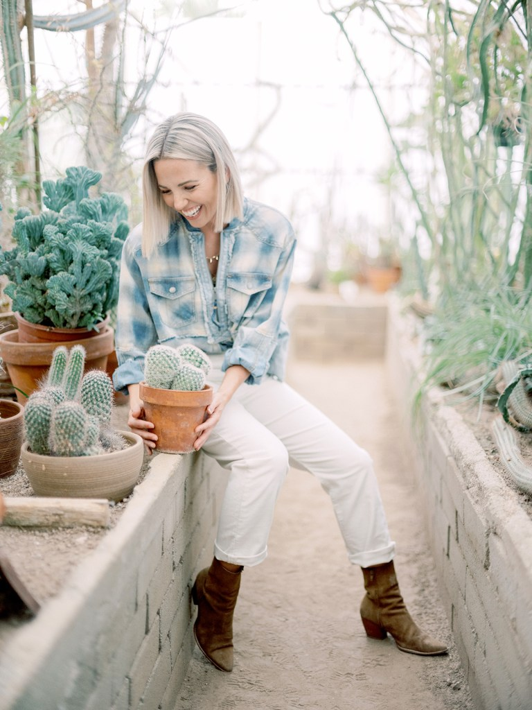 Heather of Those Plant Ladies playing with the plants in California.
