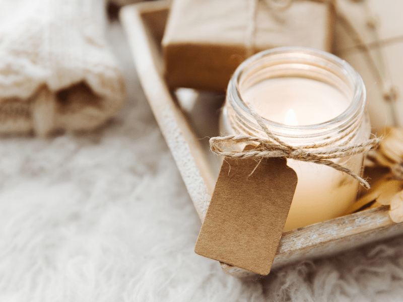 A candle on a tray; Those Plant Ladies: 5 Ways to Fight the Winter Blues
