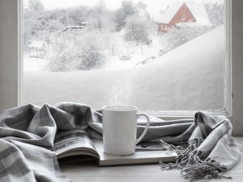 Warm coffee overlooking a snow-filled scene out the window; Those Plant Ladies: 5 Ways to Fight the Winter Blues