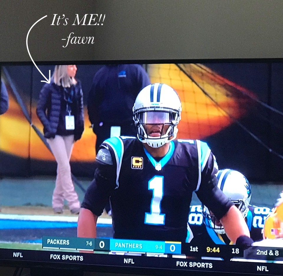 Fawn of Those Plant Ladies in teh background of a television shot of quarterback Cam Newton.