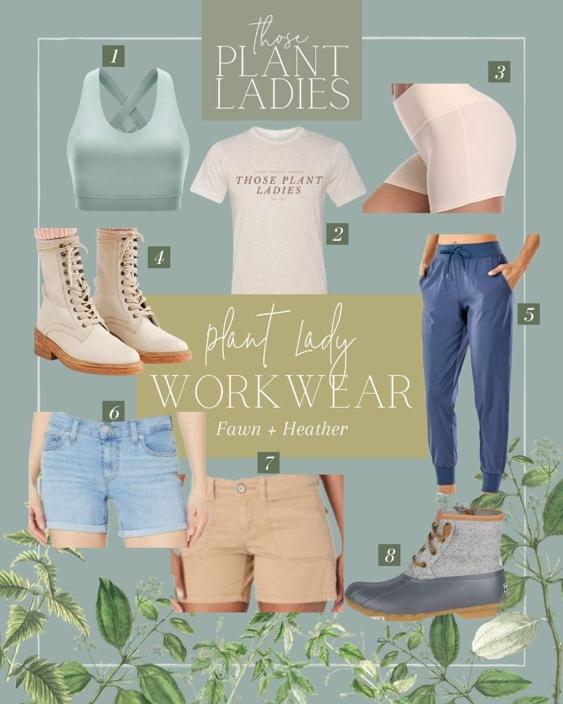 Collage of workwear featured on the Those Plant Ladies blog
