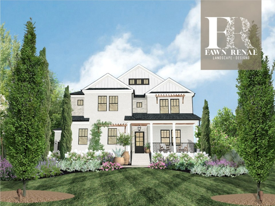 A completed design from Fawn Renae Designs includes landscape and exterior changes.