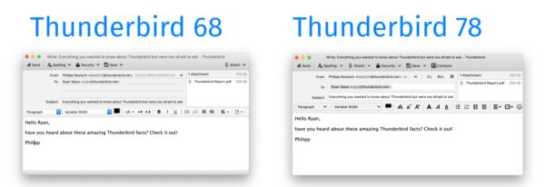 Compose Window Comparison, 68 and 78