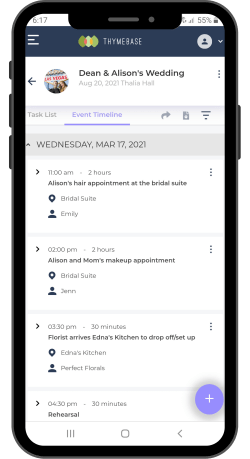 Mobile event timeline in ThymeBase