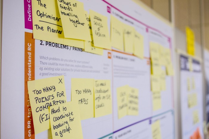 Board of post-it notes describing event planner problems