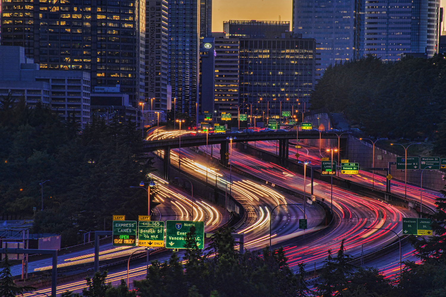 View from Dr. Jose Rizal Park -- Interstate 5 curving through downtown Seattle