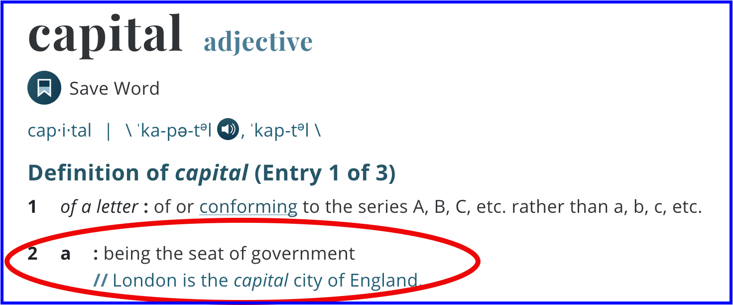 "Merriam-Webster's definition of ""capital""."