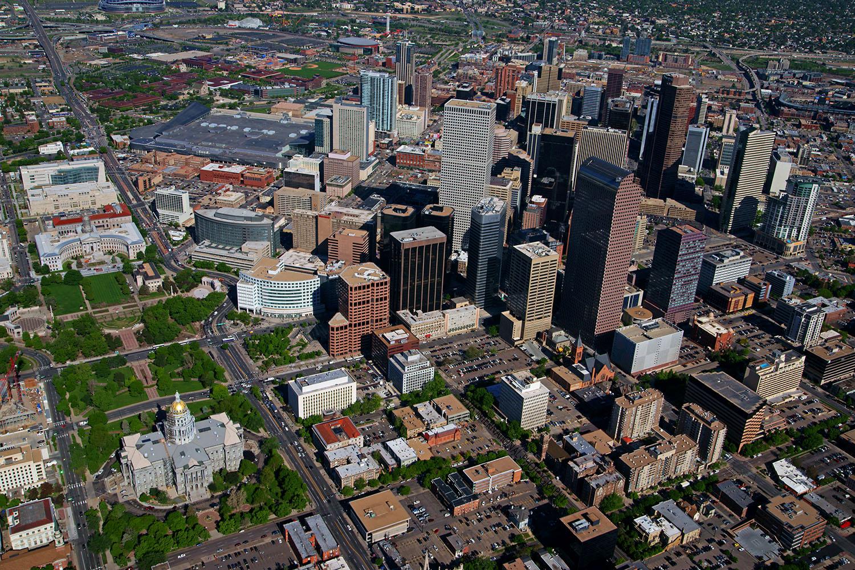 Aerial view of Denver, Colorado.