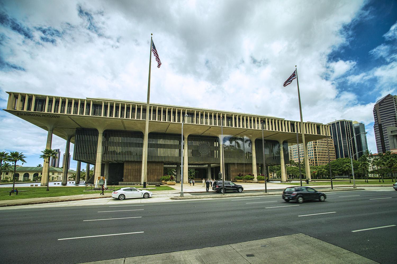 Hawaii State Capitol, Honolulu, Hawaii.
