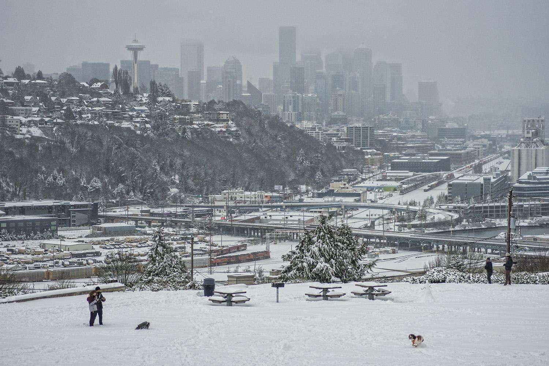 Seattle Skyline, Queen Anne Hill & Interbay neighborhoods from Ella Bailey Park, Magnolia (February 13, 2021).