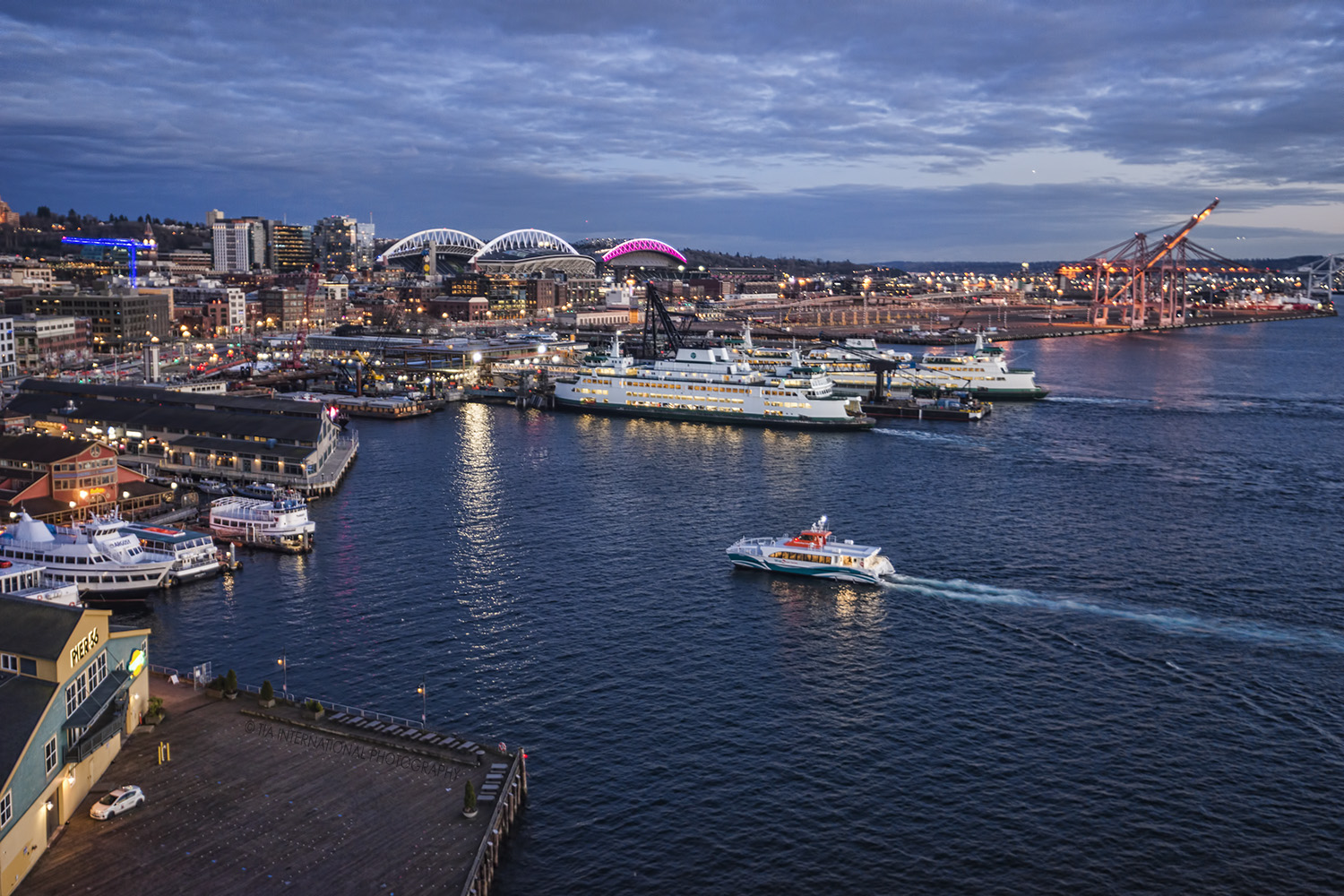Seattle Waterfront featuring Colman Dock (where the Washington State Ferries arrive and depart) and the city's sports stadiums.