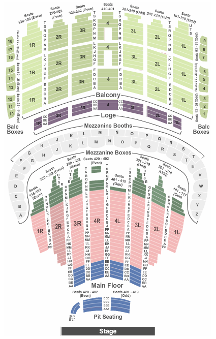 Bank Of America Theater Seating Chart
