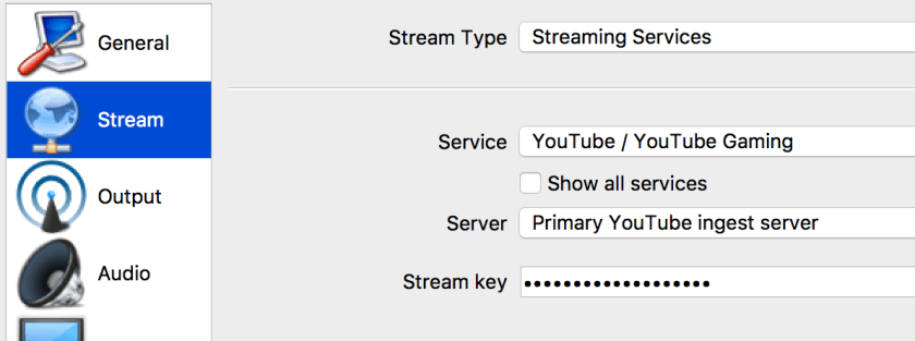 OBS stream settings