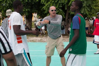 Aubry at a basketball tournament in Haiti