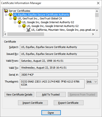 Here we see the fully expanded certificate chain. The final certificate - the one with the skull and crossbones icon - is the one that was rejected because it was untrusted.