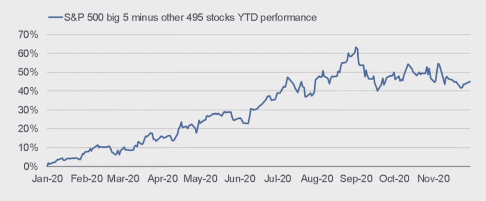 S&P 500 big 5 minus other 495 stocks YTD performance
