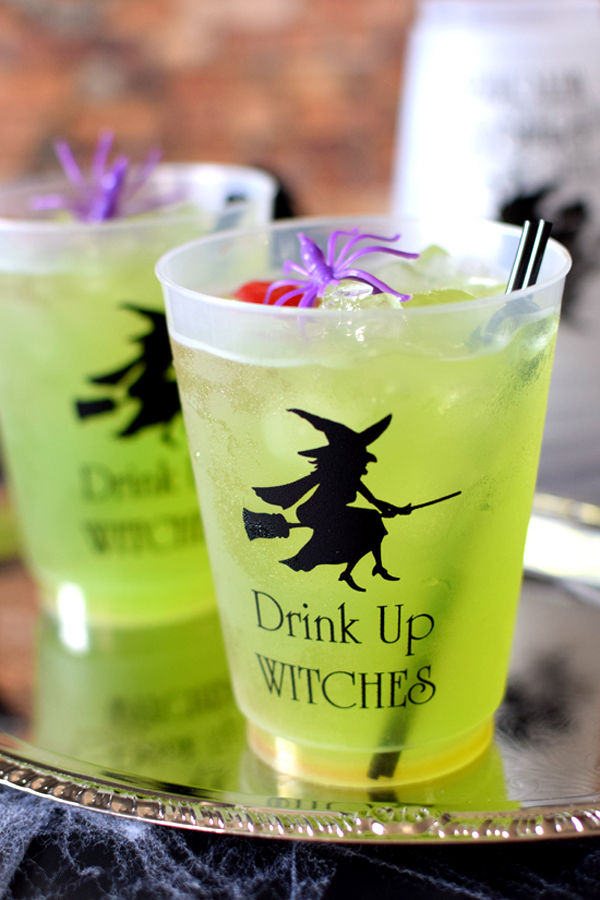 Personalized plastic frosted cups drink up witches