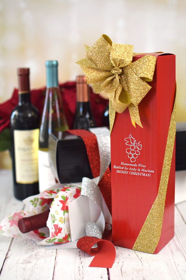 Personalized holiday wine boxes
