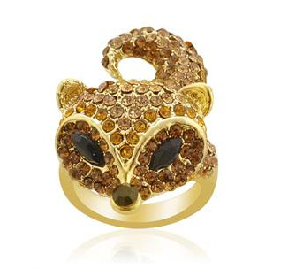 ce851c5ef Creature Couture Black,Yellow and Brown Austrian Crystal Fox Pattern Ring