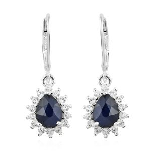 Kanchanaburi Blue Sapphire, Natural Cambodian Zircon Lever Back Earrings
