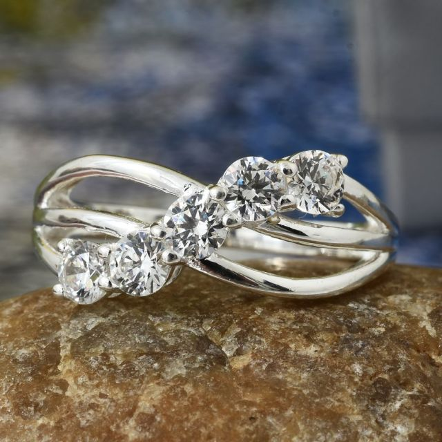 J Francis - Sterling Silver 5 Stone Criss Cross Ring Made