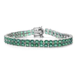 Emerald Bracelet in Rhodium Plated Sterling Silver