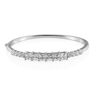 Platinum Overlay Sterling Silver Bangle Made with SWAROVSKI ZIRCONIA