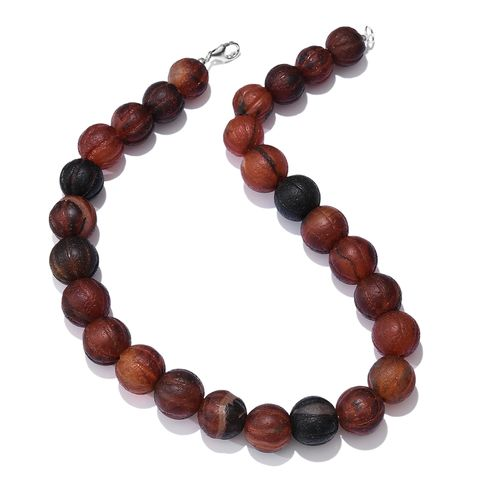 Limited Edition- Halloween Special Pumpkin Carved Natural Agate (Rnd 14mm) Necklace