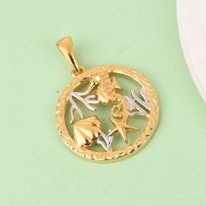 Sea World Pendant in Platinum and Gold Plated Sterling Silver