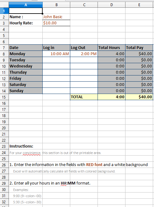 work hours template excel