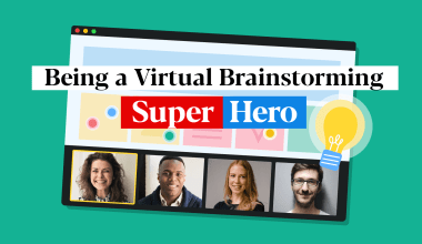 Blog featured image for virtual brainstorming sessions showing four participants engaging in a brainstorming session on a video conferencing platform.