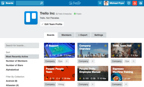 Product image of one of the most popular online collaboration tools, Trello