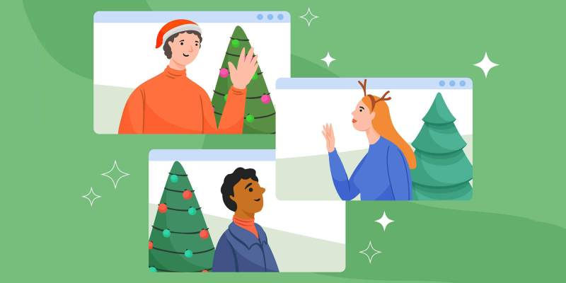 An illustration depicting three people on a virtual call celebrating virtual holiday party