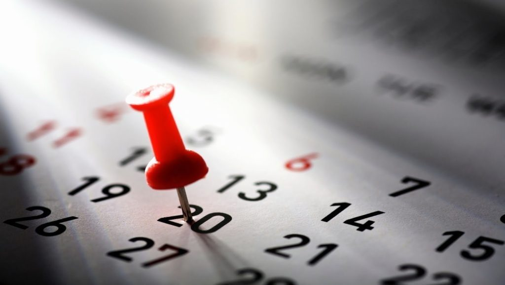 Approximate image of a calendar, with a red pin on the 20th.