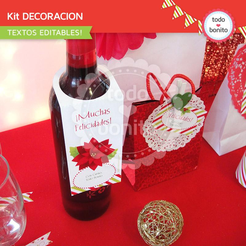 Kit imprimible para decorar Navidad ROJO y VERDE  Todo Bonito