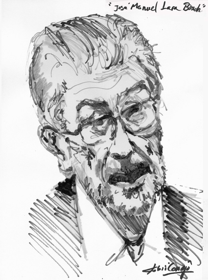 Retrato a tinta de Jose Manuel Lara Bosch, | Portrait by Toni Conejo Artista Pintor. Ink on paper