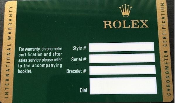 Rolex warranty policy