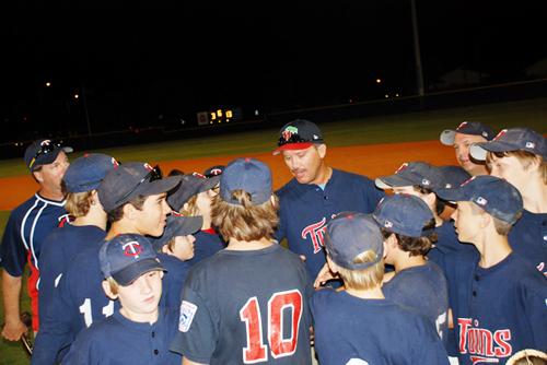 Manager Paul Hobby, Coaches Brett Ellis and Matt Scott, and the Twins