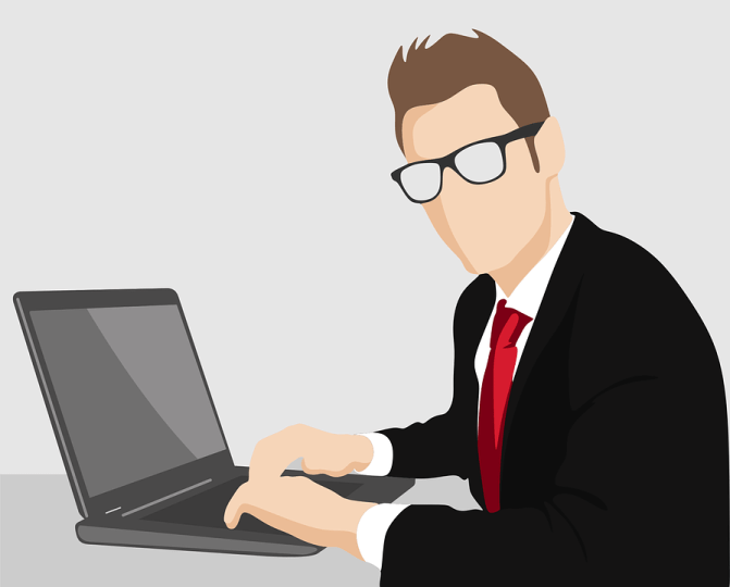 animated guy in suit with glasses and notebook