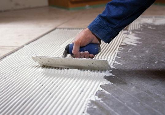 Image of radiant floor heating panel installation