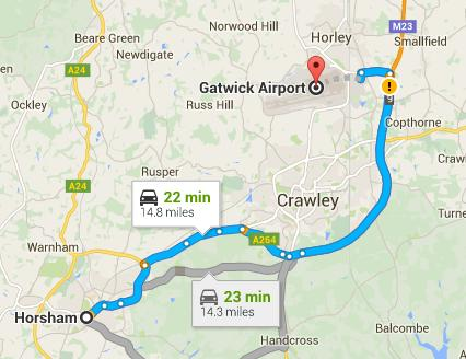 Taxi Horsham to Gatwick
