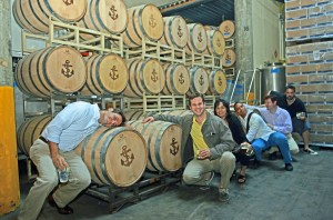 Our team, having a blast in the Anchor spirits aging room