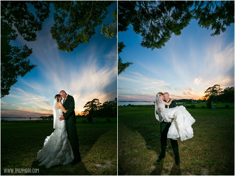 Sunset Wedding Photos at the Soundside Club