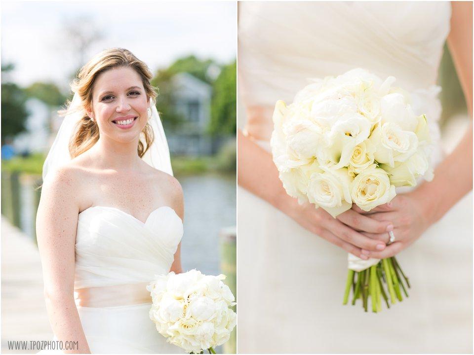 Bride on docks
