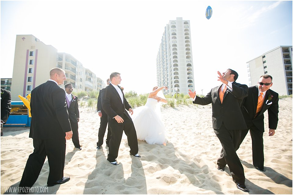 Ocean City Beach Football Pose Wedding Photos