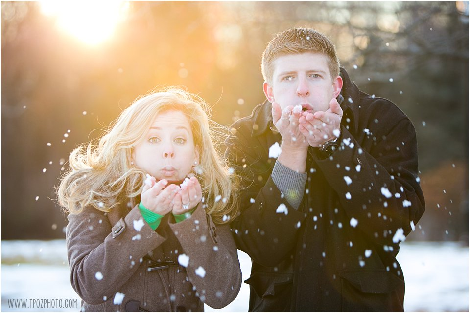 beautiful snowy engagement photos