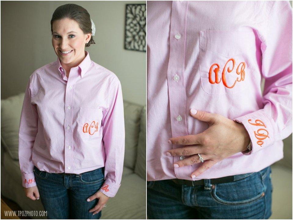 Monogrammed bride shirt