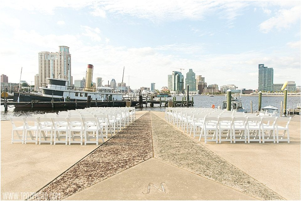 Baltimore Museum of Industry Wedding Ceremony setup on the Point