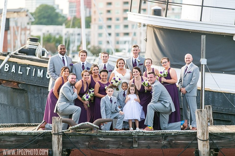 Wedding party on the pier at the Baltimore Museum of Industry